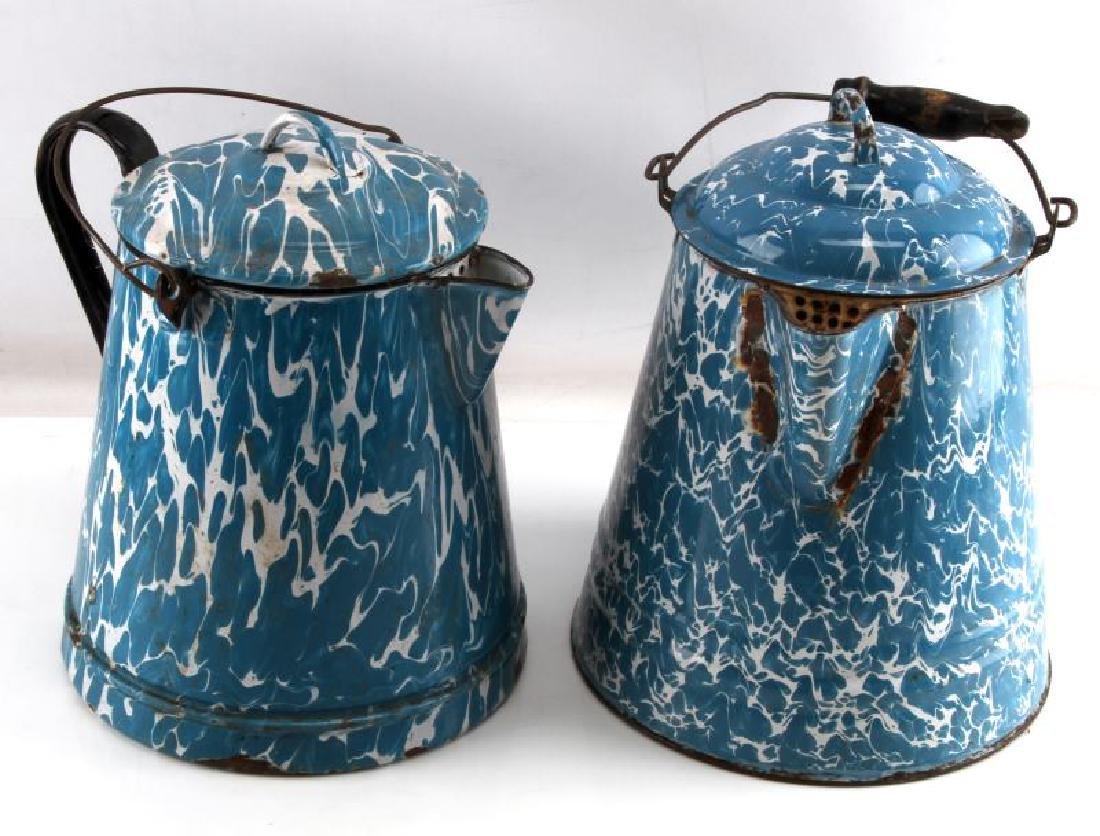 ANTIQUE BLUE & WHITE SWIRL GRANITEWEAR COFFEE POT