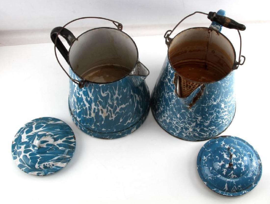ANTIQUE BLUE & WHITE SWIRL GRANITEWEAR COFFEE POT - 3