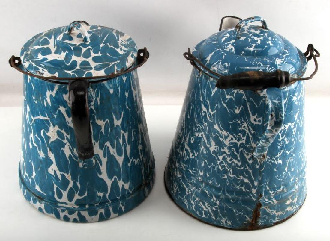 ANTIQUE BLUE & WHITE SWIRL GRANITEWEAR COFFEE POT - 4