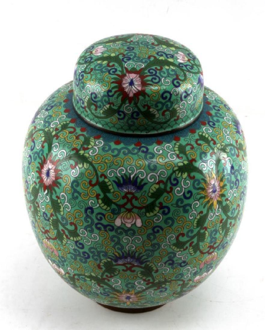 CHINESE BRASS CLOISONNE W LOTUS FLOWER GINGER JAR