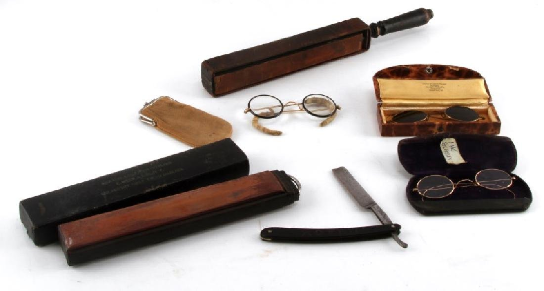 ANTIQUE SPECTACLE EYEGLASSES & STRAIGHT RAZOR LOT