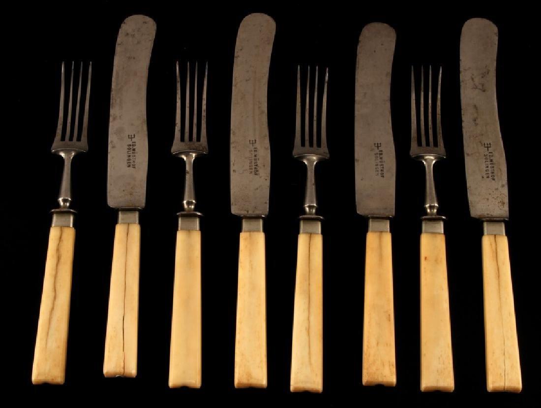 ANTIQUE BONE HANDLED KNIFE AND FORK SET SOLINGEN