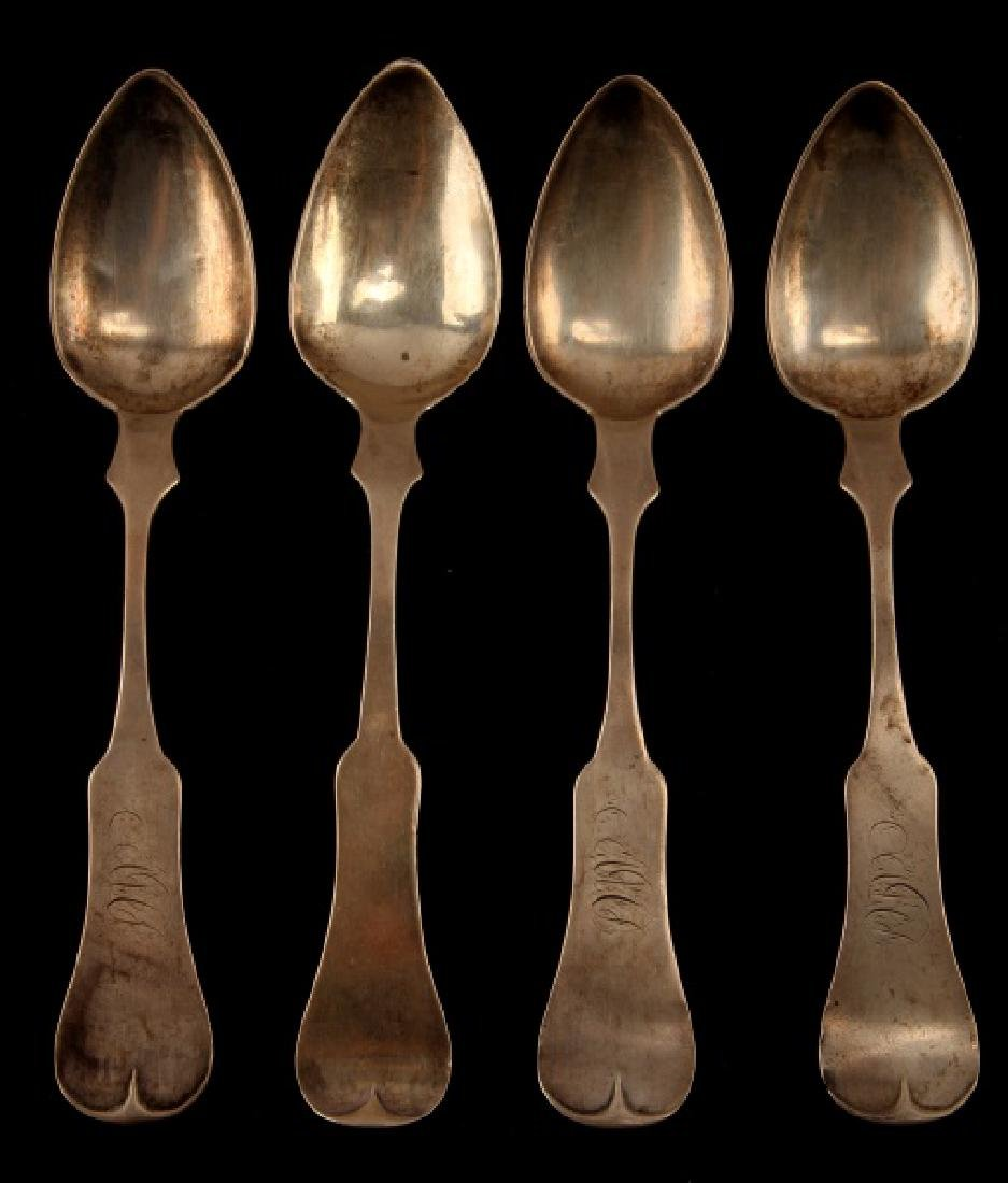 4 COIN SILVER ANTIQUE DESSERT SPOONS JACCARD