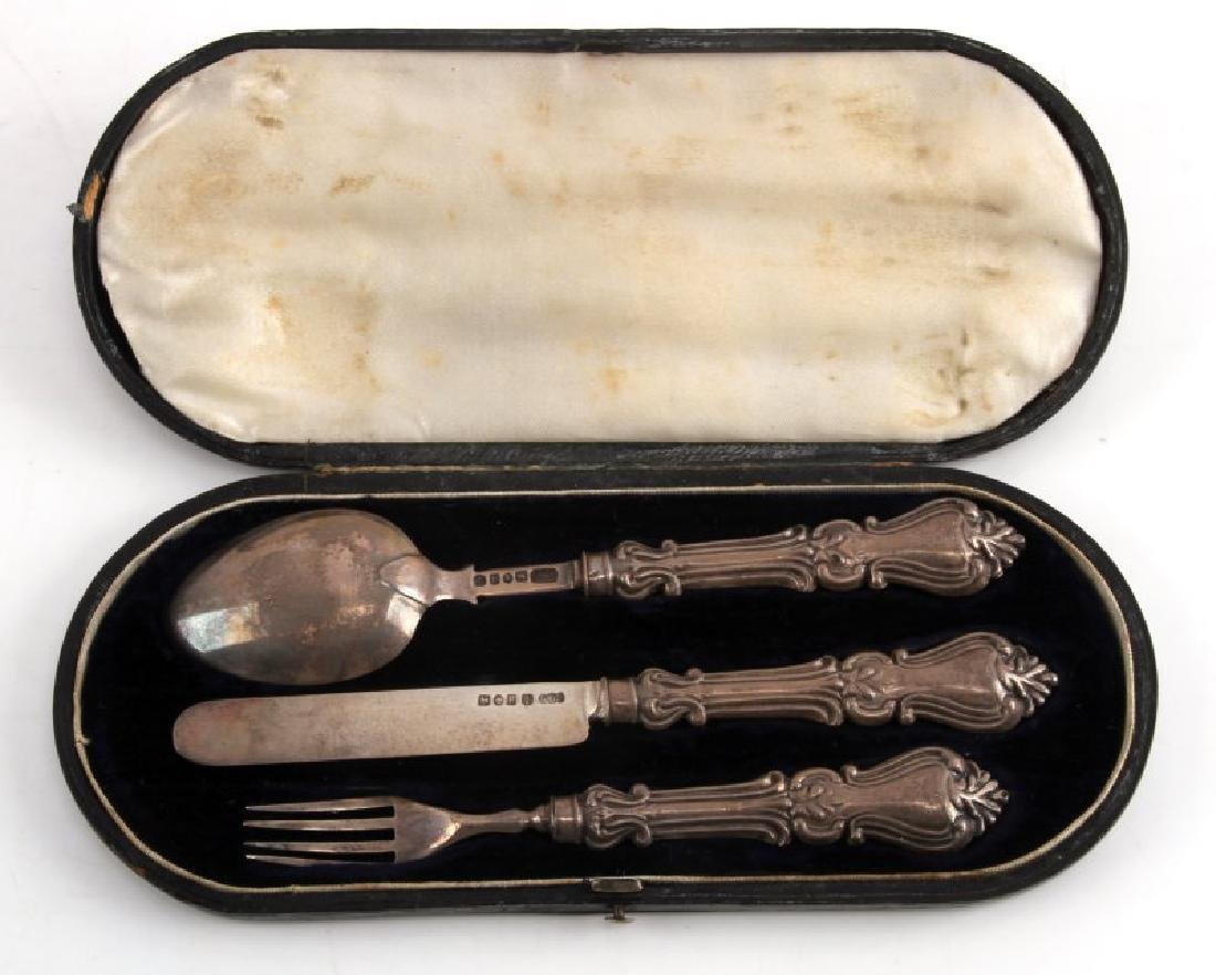ANTIQUE ENGLISH FORMAL SILVER DINNER SET WITH CASE
