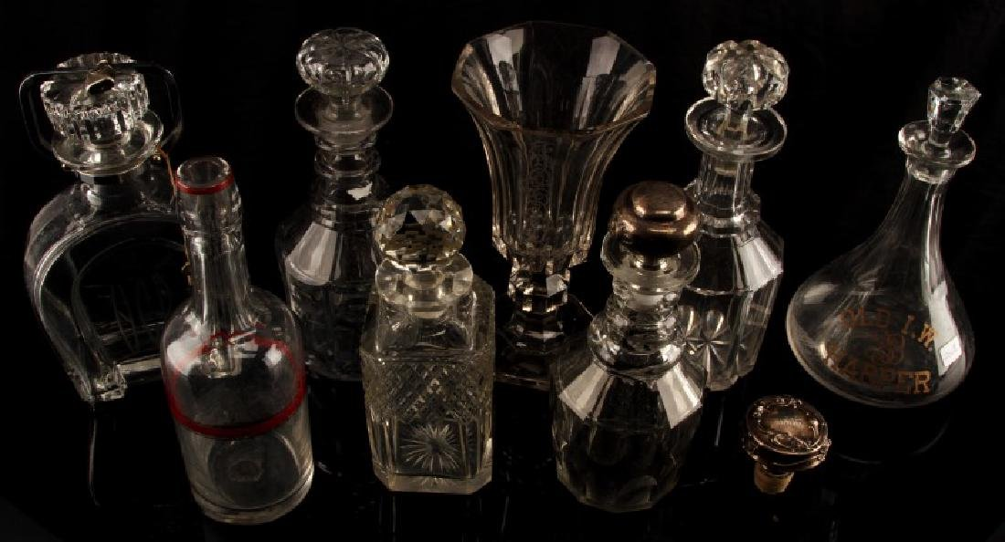 VINTAGE ANTIQUE CRYSTAL & GLASS DECANTER LOT