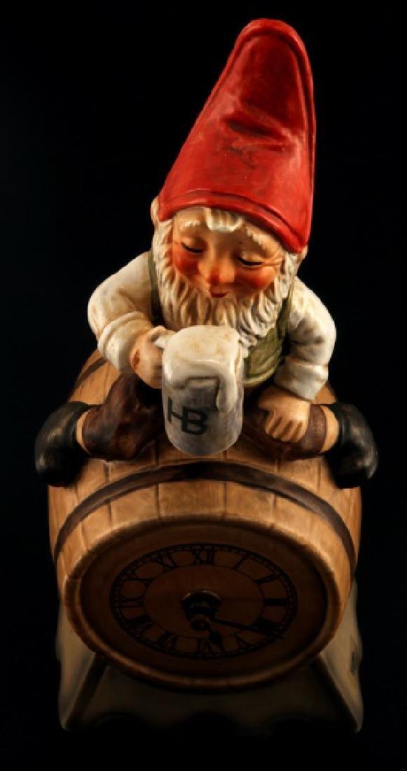GOEBEL GNOME SEPP BEER CLOCK BARREL FIGUIRINE
