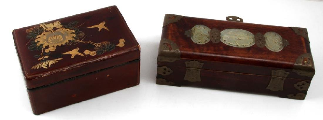 VINTAGE ASIAN WOOD BRASS LACQUER JEWELRY BOX LOT - 7
