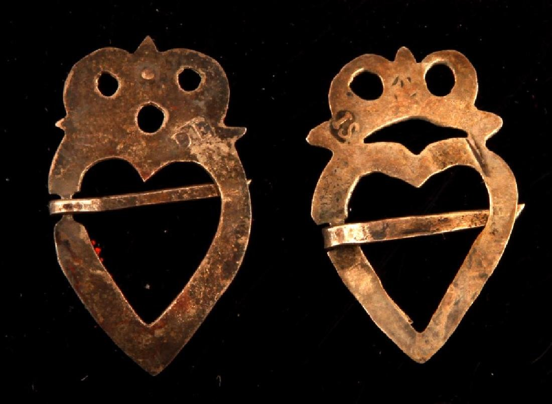 PAIR OF NATIVE AMERICAN FUR TRADE SILVER BROOCHES