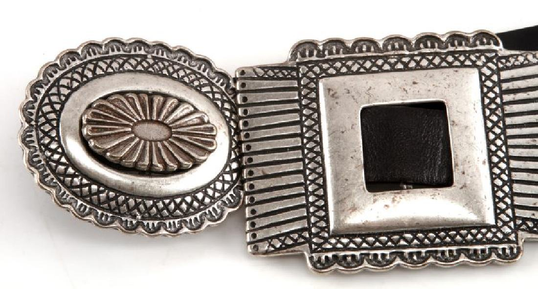 SOUTHWESTERN SILVER TONE AND LEATHER CONCHA BELT - 2