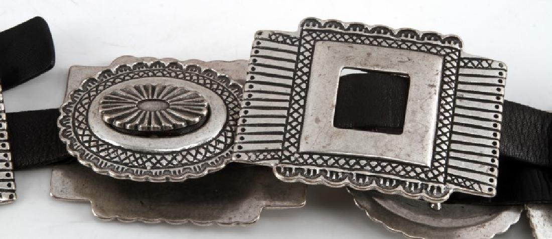 SOUTHWESTERN SILVER TONE AND LEATHER CONCHA BELT - 3