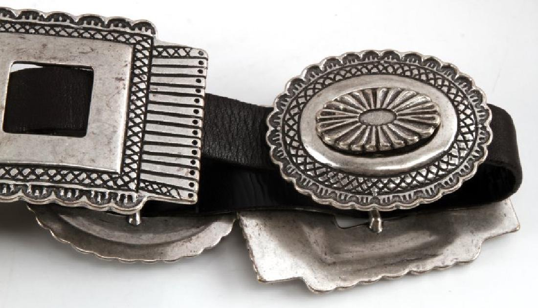 SOUTHWESTERN SILVER TONE AND LEATHER CONCHA BELT - 4