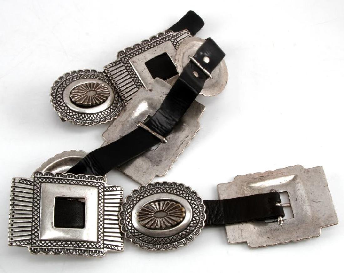 SOUTHWESTERN SILVER TONE AND LEATHER CONCHA BELT - 5