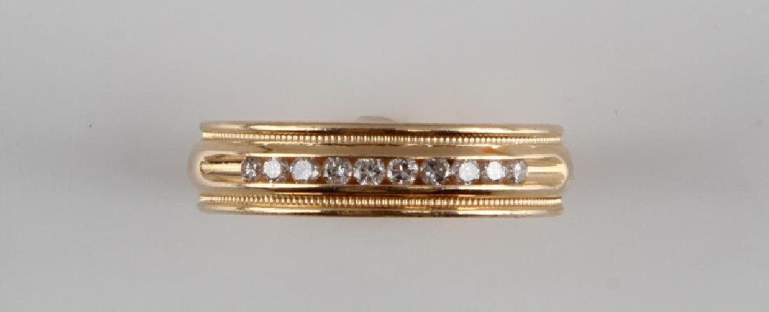 MENS 14KT YELLOW GOLD & DIAMOND RING BAND .15 TCW