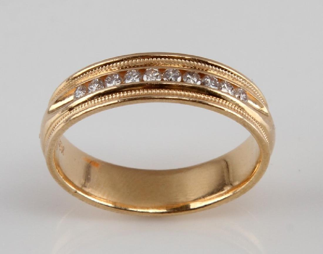 MENS 14KT YELLOW GOLD & DIAMOND RING BAND .15 TCW - 2