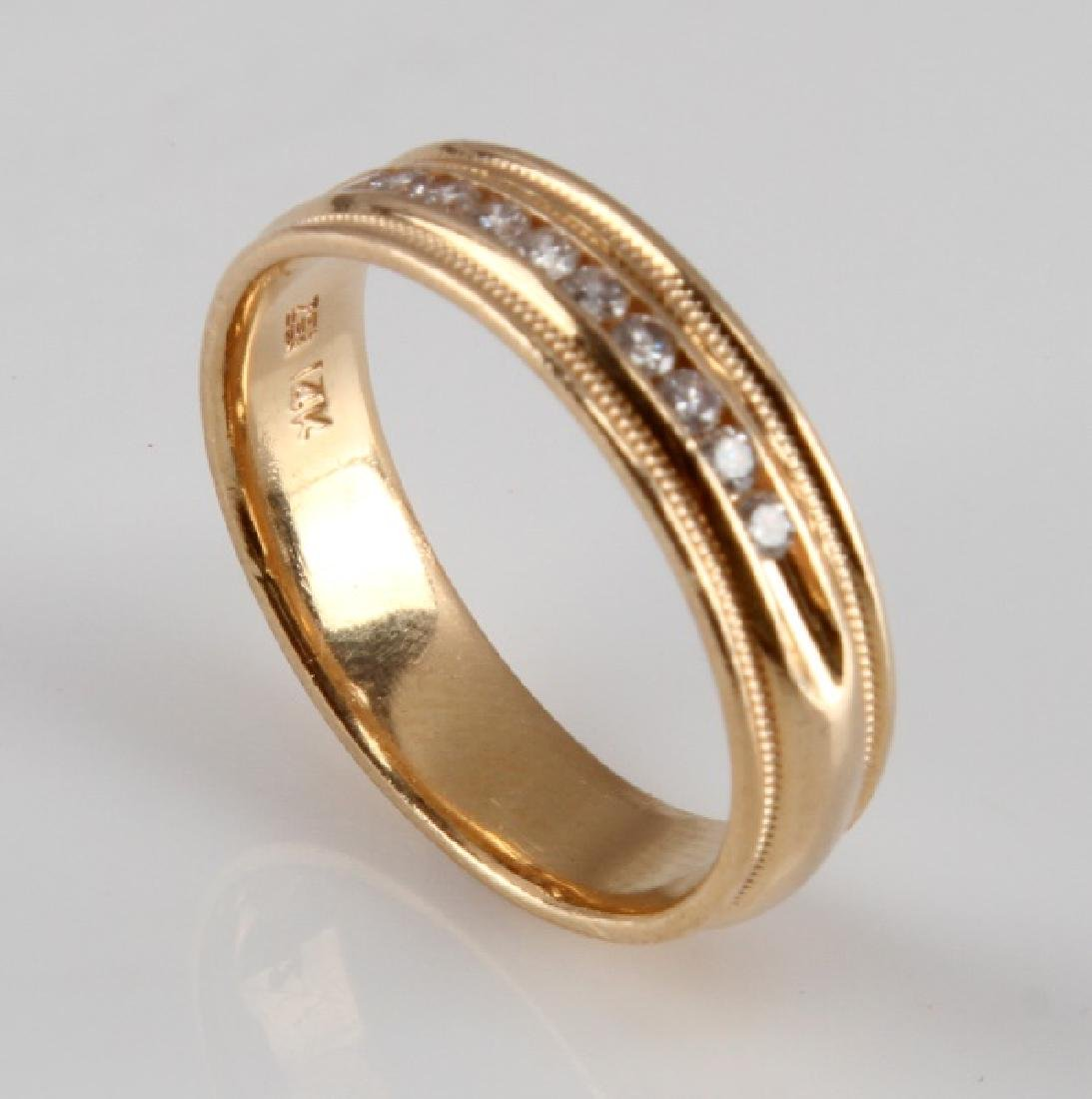 MENS 14KT YELLOW GOLD & DIAMOND RING BAND .15 TCW - 3