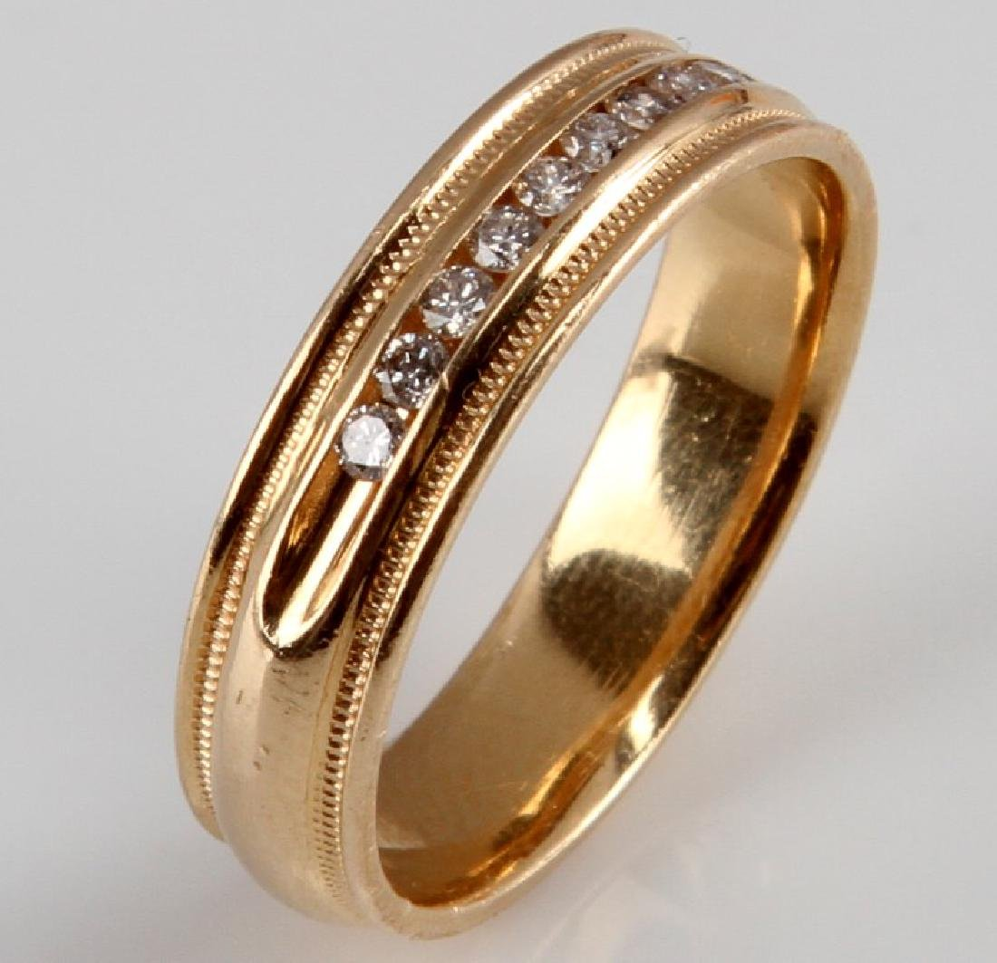 MENS 14KT YELLOW GOLD & DIAMOND RING BAND .15 TCW - 4