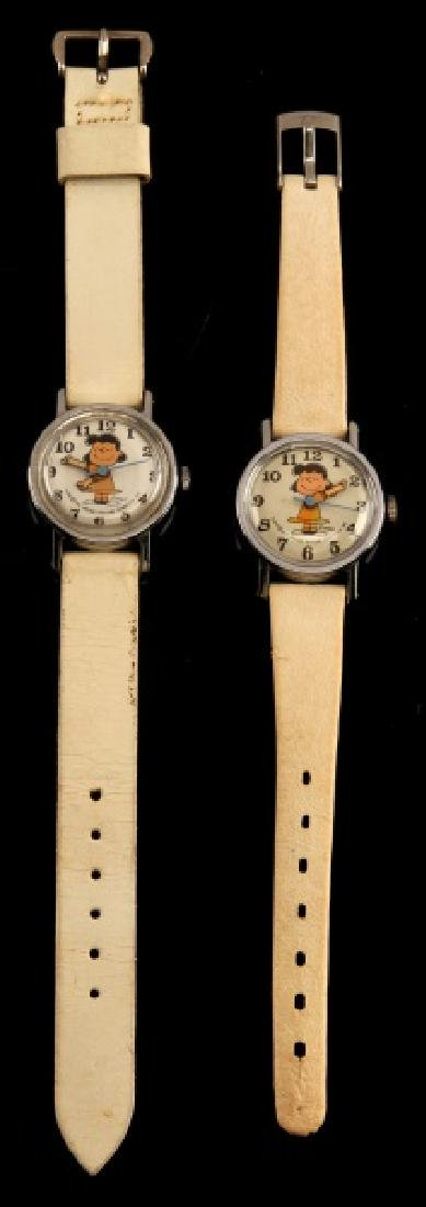 2 ANTIQUE LUCY PEANUTS 1952 WRIST WATCH LOT