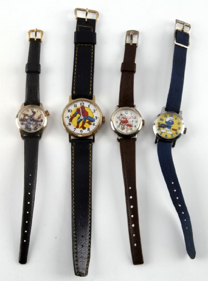 4 VINTAGE ENTERTAINMENT THEMED WATCH LOT SMURFS
