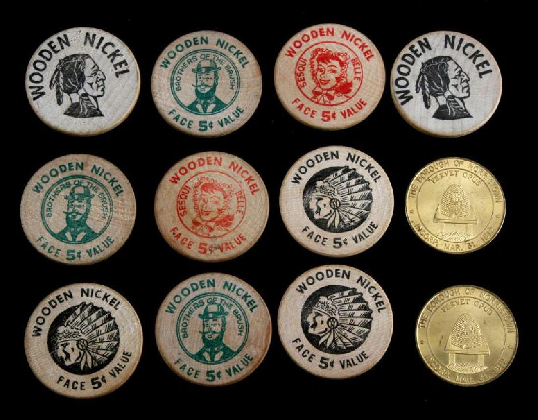 12 VINTAGE TOKEN LOT WOODEN NICKEL NORRISTOWN ETC