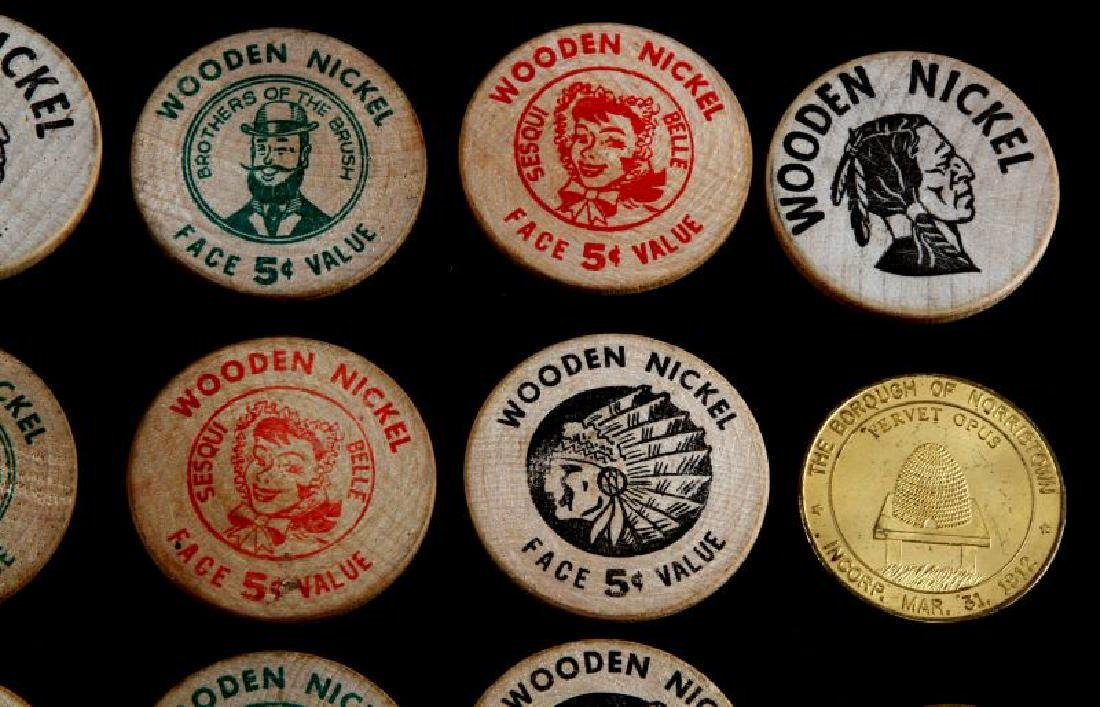 12 VINTAGE TOKEN LOT WOODEN NICKEL NORRISTOWN ETC - 5