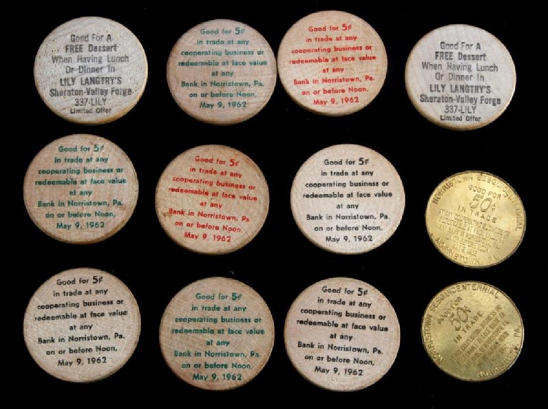 12 VINTAGE TOKEN LOT WOODEN NICKEL NORRISTOWN ETC - 6