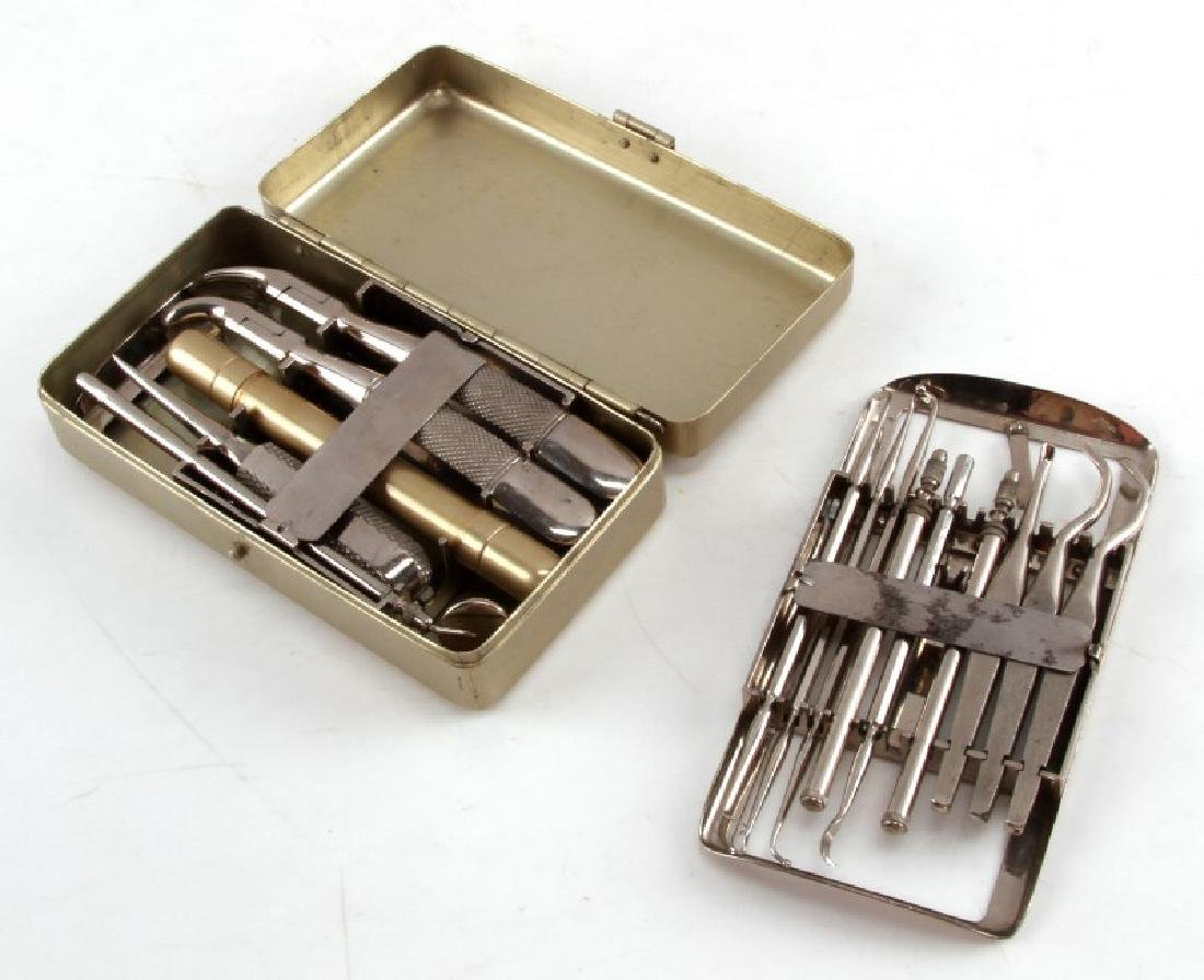 VINTAGE PORTABLE DENTIST CASE AND TOOLS SET