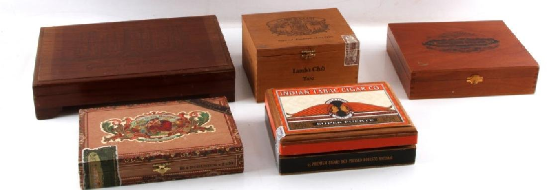 5 WOODEN CIGAR BOX LOT SANCHO PANZA LAMBS CLUB ETC