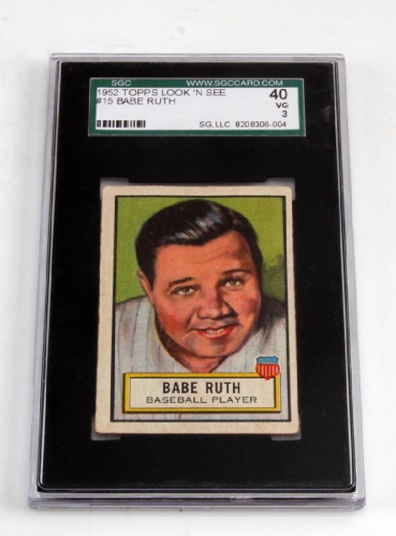 1952 BABE RUTH TOPPS #15 LOOK N SEE BASEBALL CARD