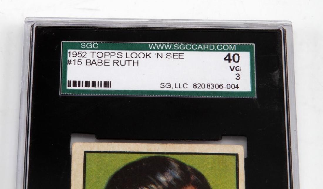 1952 BABE RUTH TOPPS #15 LOOK N SEE BASEBALL CARD - 3