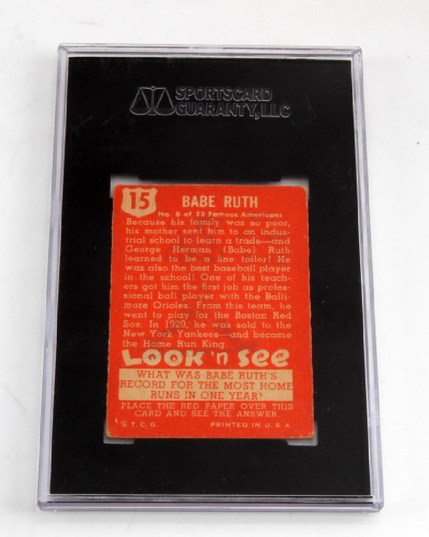 1952 BABE RUTH TOPPS #15 LOOK N SEE BASEBALL CARD - 4