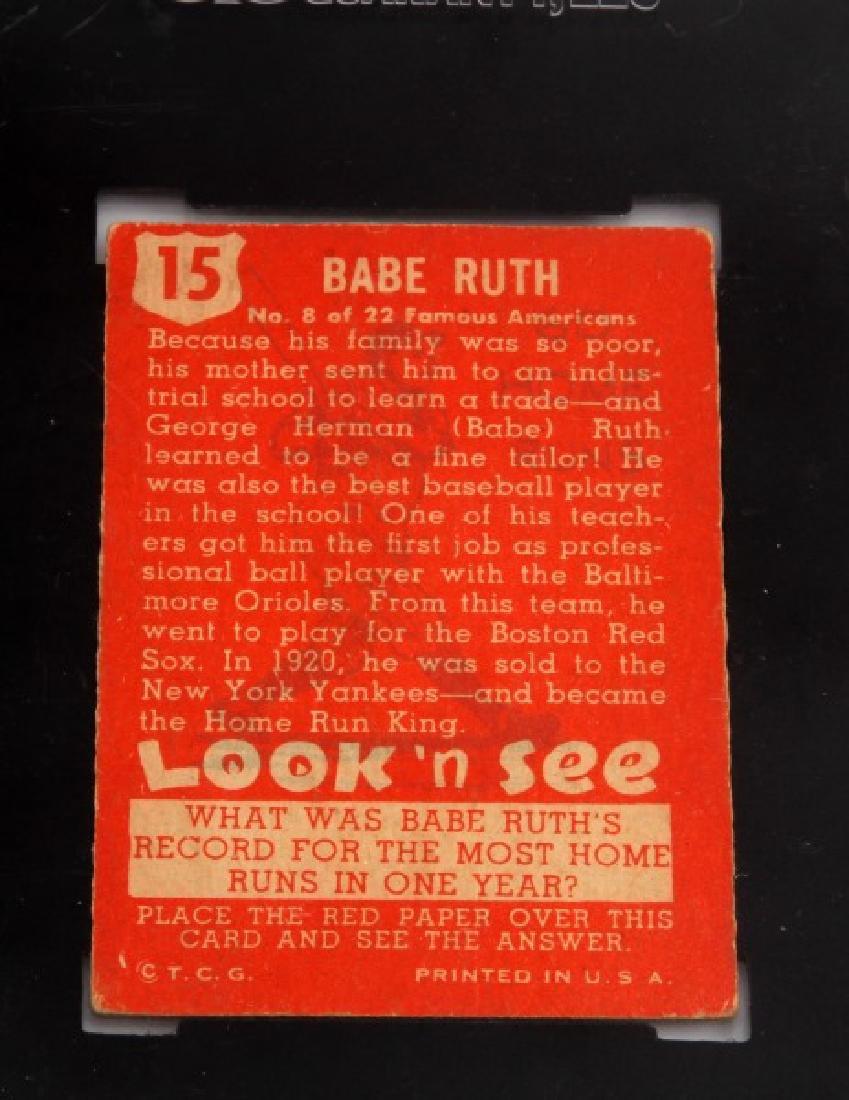 1952 BABE RUTH TOPPS #15 LOOK N SEE BASEBALL CARD - 5