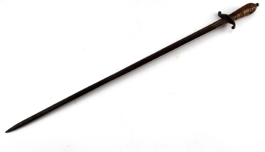 VINTAGE SWORD BLADE WITH FULLER HORN OR HOOF GRIP - 4