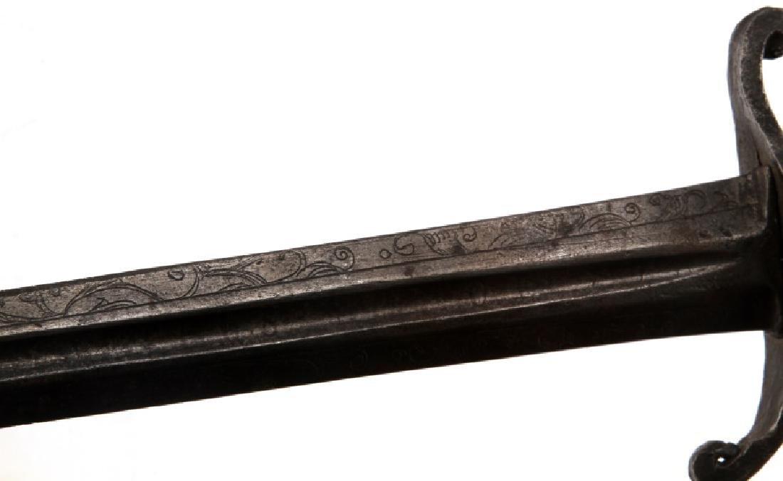 VINTAGE SWORD BLADE WITH FULLER HORN OR HOOF GRIP - 6