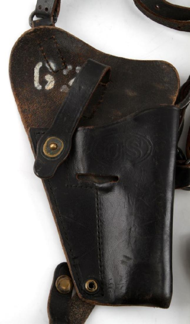 VINTAGE BLACK LEATHER GUN PISTOL HOLSTER LOT - 2