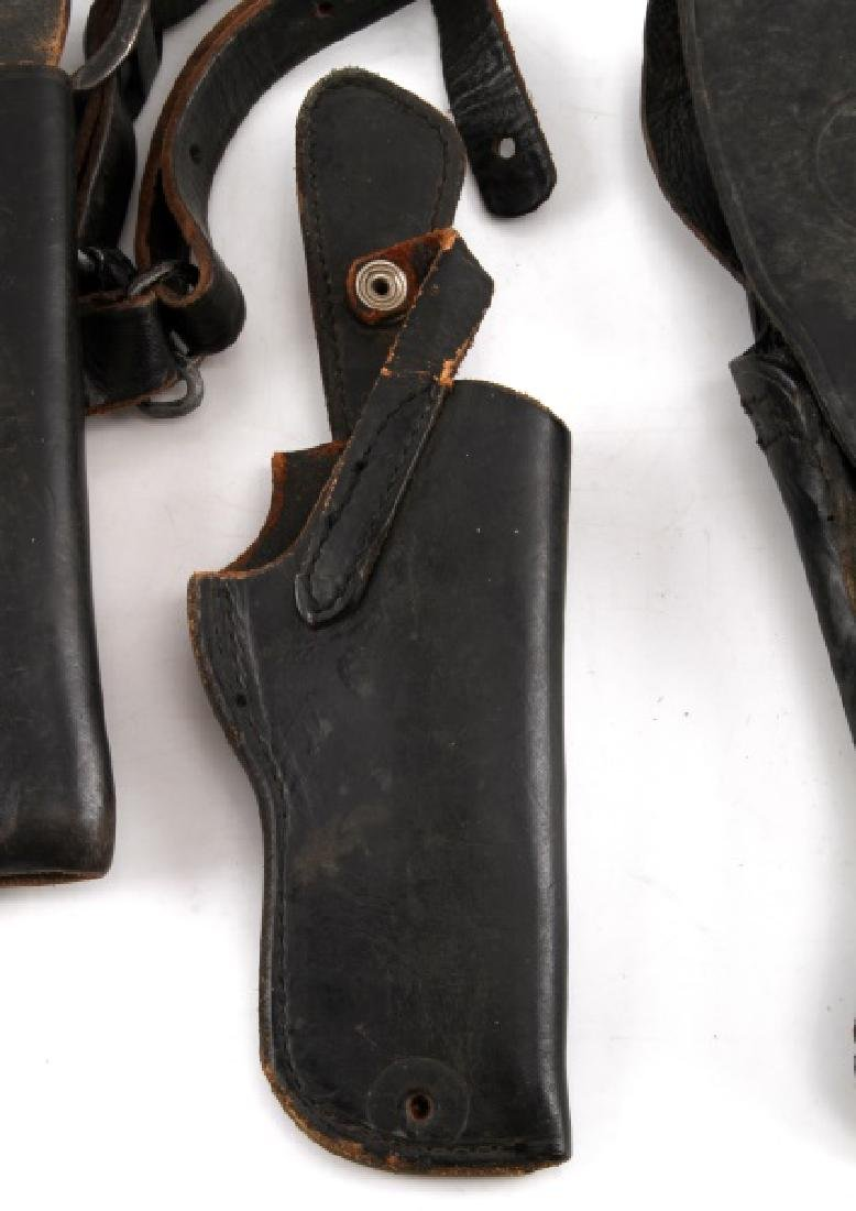 VINTAGE BLACK LEATHER GUN PISTOL HOLSTER LOT - 3