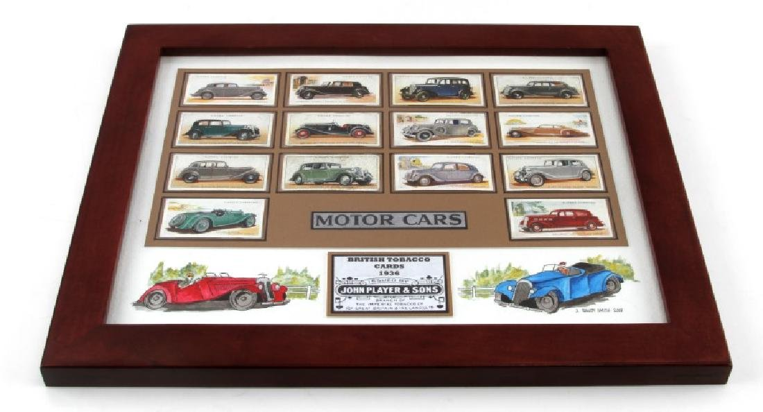 FRAMED BRITISH TOBACCO CARDS 1936  WWII MOTOR CARS