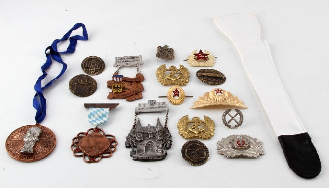 MIXED GERMAN RUSSIAN MILITARY BADGES CAP PINS ETC