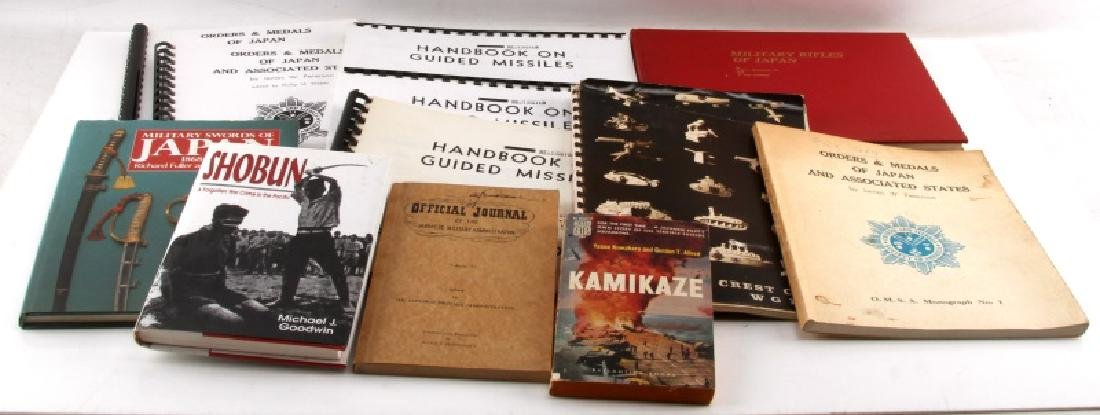 12 VINTAGE ASIAN MILITARY BOOK LOT ORDERS & MEDALS