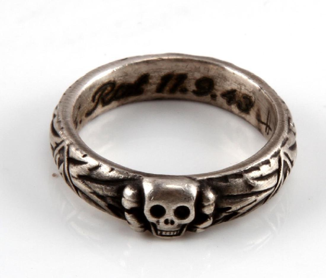 WWII GERMAN  REICH SS TOTENKOPF HONOR RING & BOX - 2