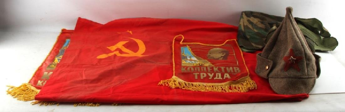 LOT OF SOVIET AND US COLD WAR ERA FLAGS AND GEAR