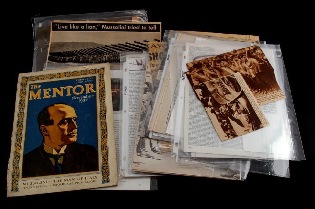LARGE LOT OF WWII MUSSOLINI DOCUMENTS & EPHEMERA