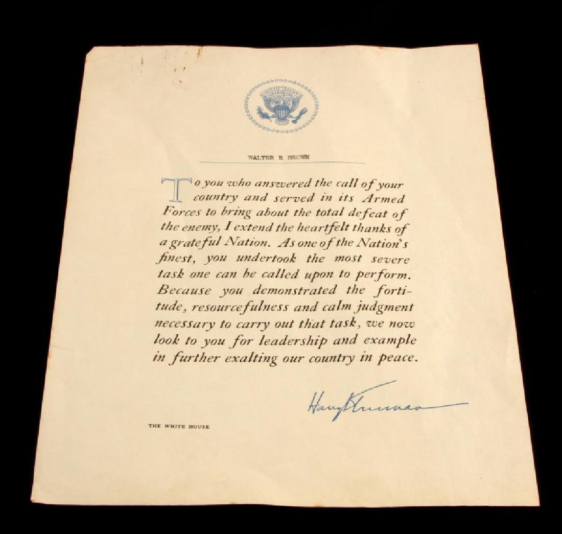 HARRY S. TRUMAN SIGNED LETTER TO WALTER BROWN