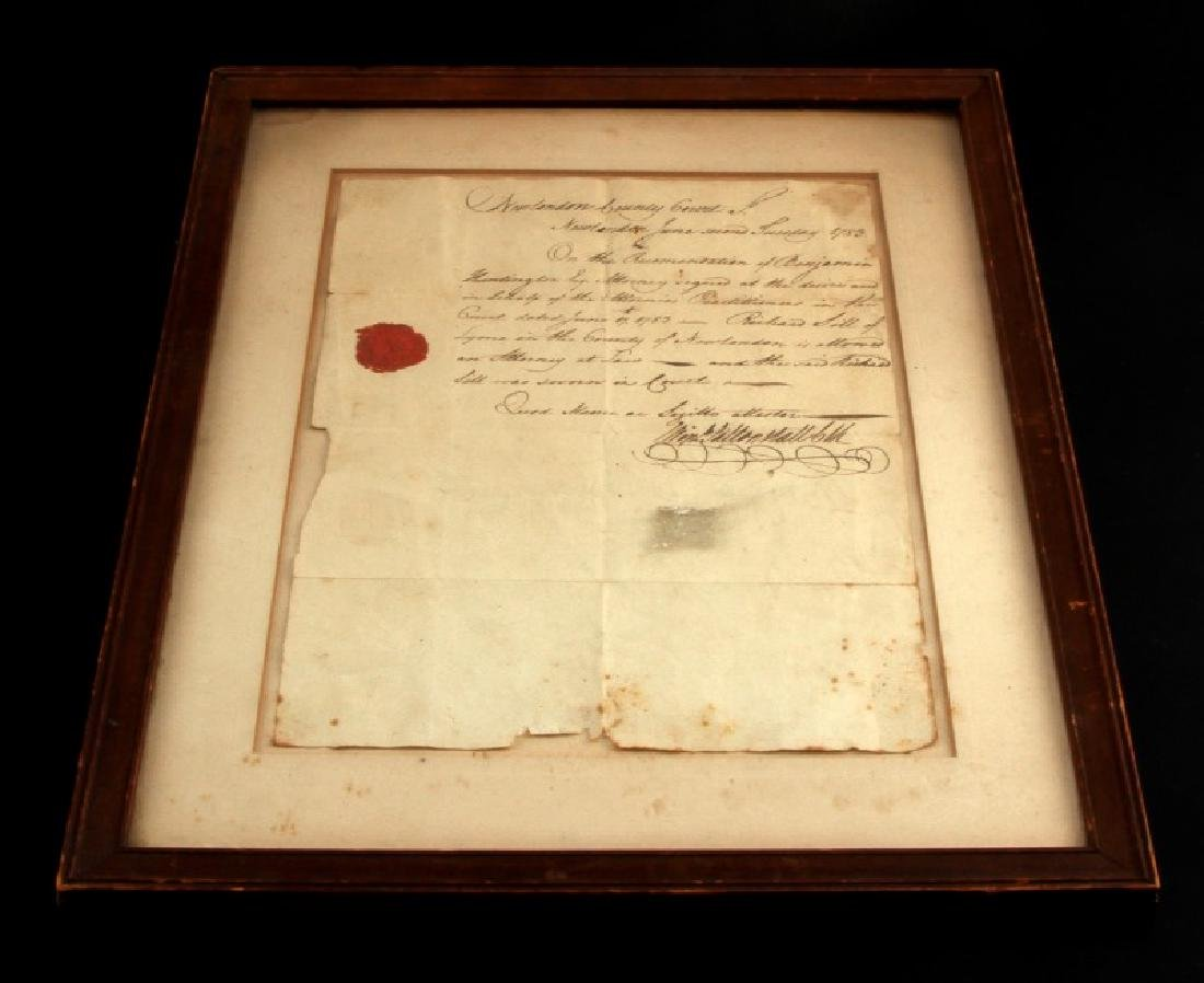 LT RICHARD SILL SIGNED LAW PRACTICE LETTER 1783