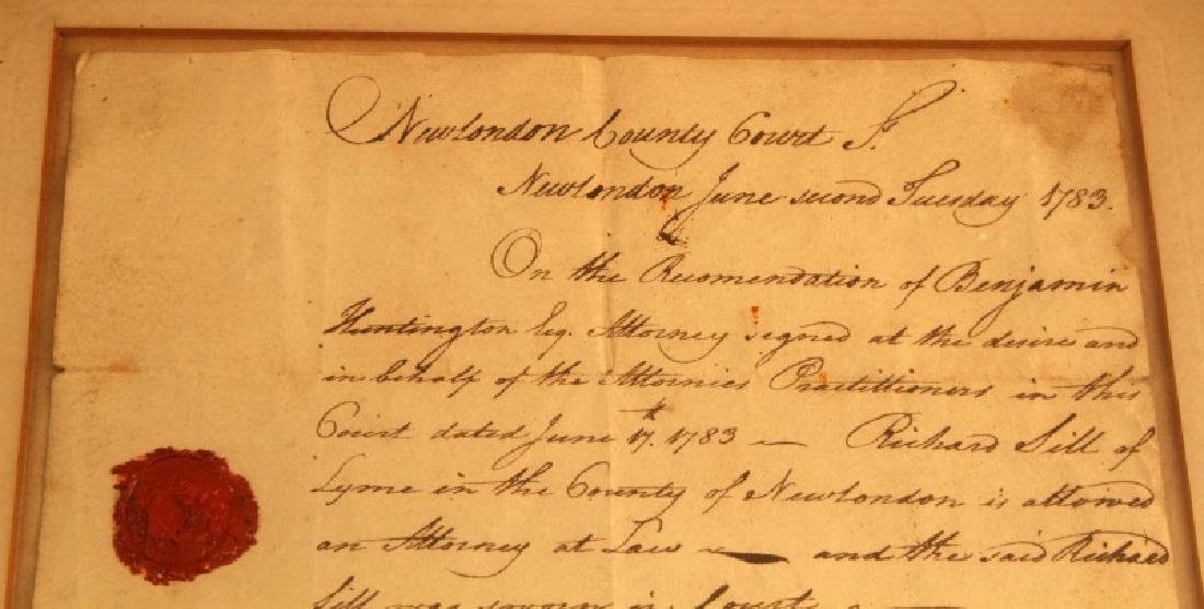 LT RICHARD SILL SIGNED LAW PRACTICE LETTER 1783 - 2