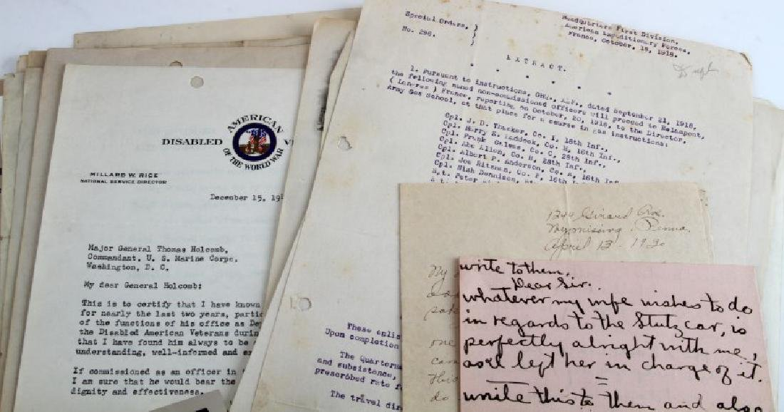 WWII TO WWII 2 SOLDIERS RECORDS USMC ARMY CITATION - 4