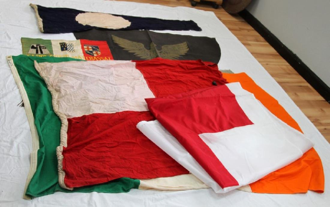 LOT OF 10 EUROPEAN AND OTHER FLAGS & BANNERS
