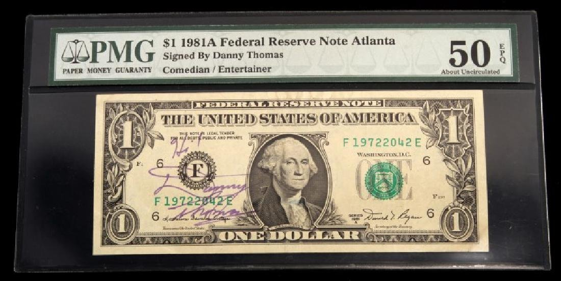 $1 1981 A  FR BANKNOTE PMG SIGNED BY DANNY THOMAS