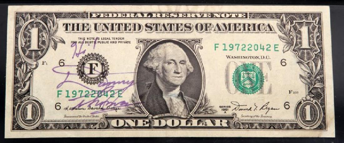 $1 1981 A  FR BANKNOTE PMG SIGNED BY DANNY THOMAS - 2