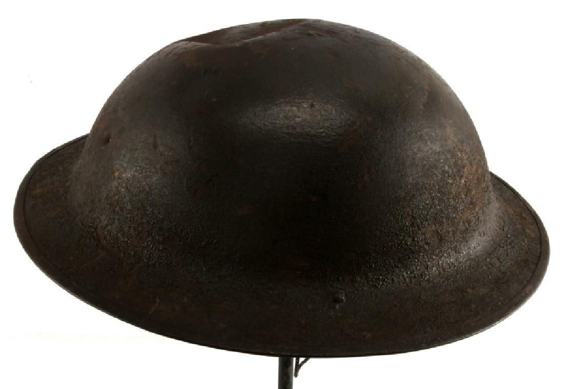WWI BRITISH BATTLE DAMAGED STEEL BRODIE HELMET - 2