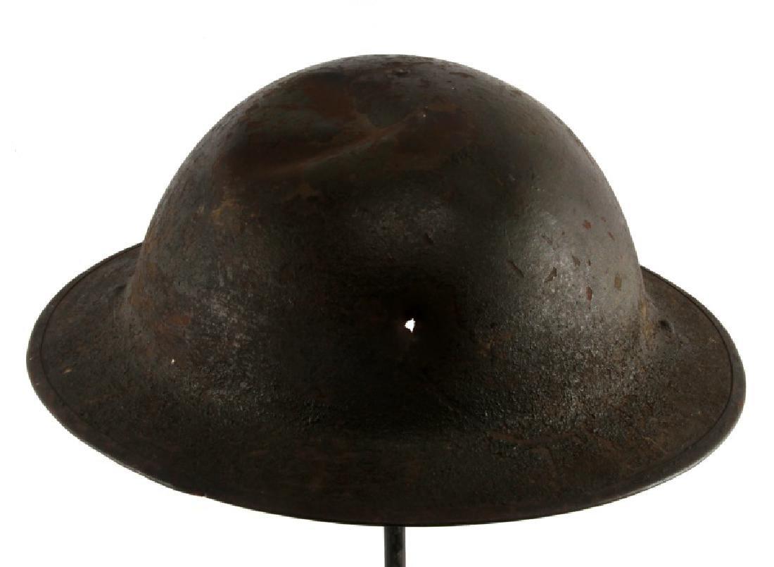 WWI BRITISH BATTLE DAMAGED STEEL BRODIE HELMET - 3